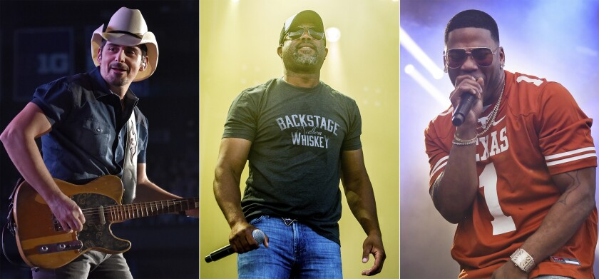 "Brad Paisley, Darius Rucker and rapper Nelly will be in Live Nation's ""Live from the Drive-In,"" concert series July 10-12."
