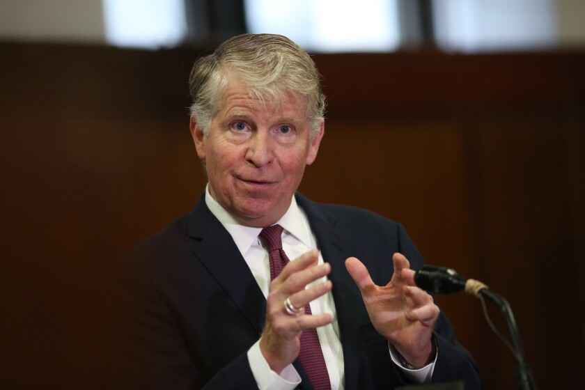 Manhattan DA Cyrus R. Vance, Jr. speaks to media in the well of the courtroom in which he'd just moved to dismiss more than 3,000 marijuana cases on September 12, 2018 in New York.