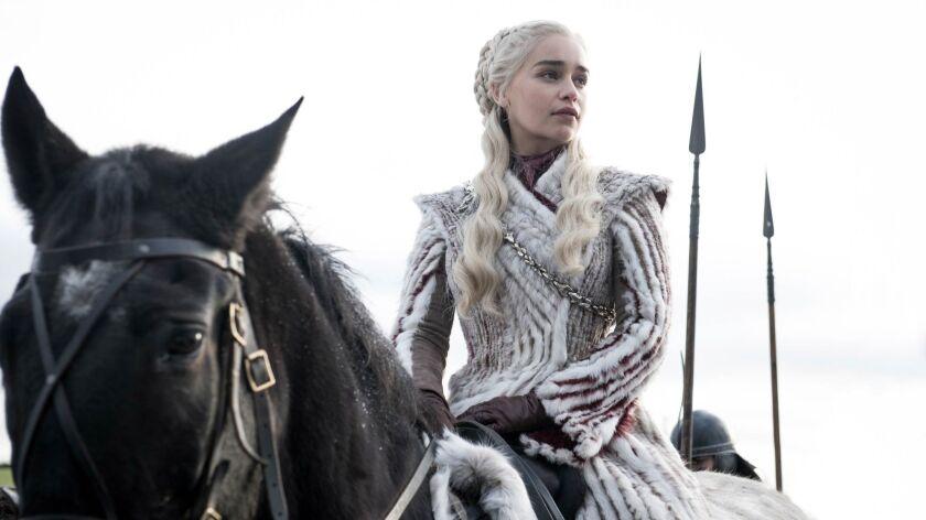 Season 8: Emilia Clarke portrays Daenerys Targaryen on GAME OF THRONES. photo: Helen Sloane/HBO