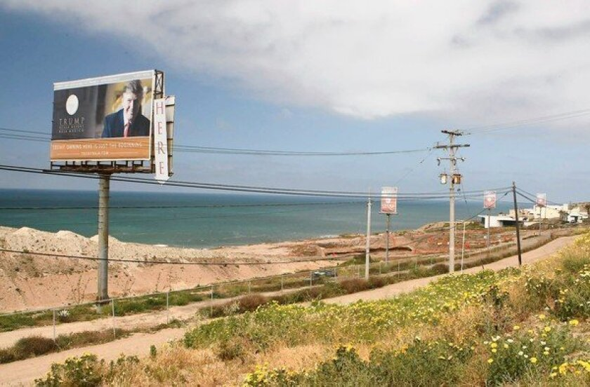 A billboard about 10 miles south of the U.S. border advertises the Trump Ocean Resort Baja Mexico in April 2009.