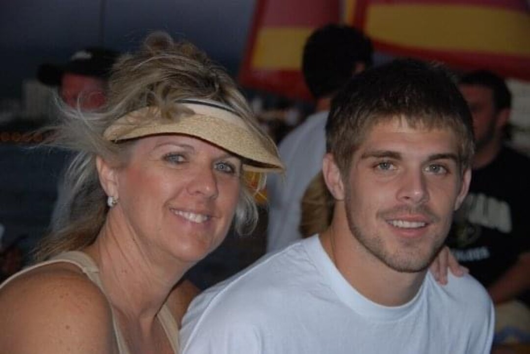 Colt Brennan and his mother, Betsy, after a Hawaii game.