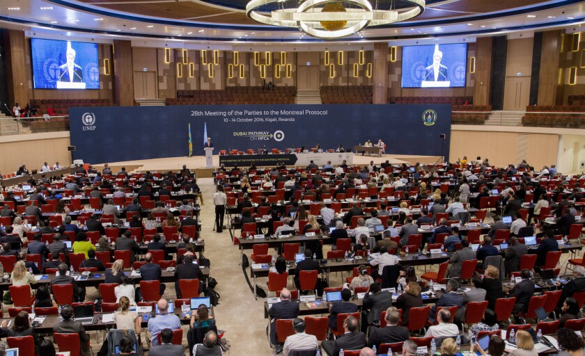 Secretary of State John F. Kerry, center-left at podium, delivers a speech to the 28th Meeting of the Parties to the Montreal Protocol on Substances that Deplete the Ozone Layer in Kigali, Rwanda, on Oct. 14.
