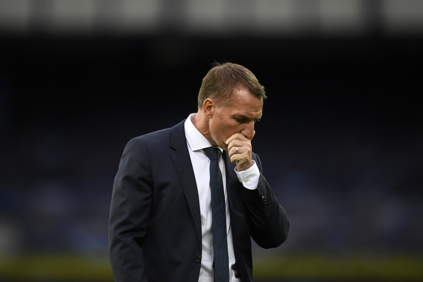 Leicester's manager Brendan Rodgers reacts after the English Premier League soccer match between Everton and Leicester at Goodison Park in Liverpool, England, Wednesday, July 1, 2020. Everton won 2-1. (Peter Powell/Pool via AP)