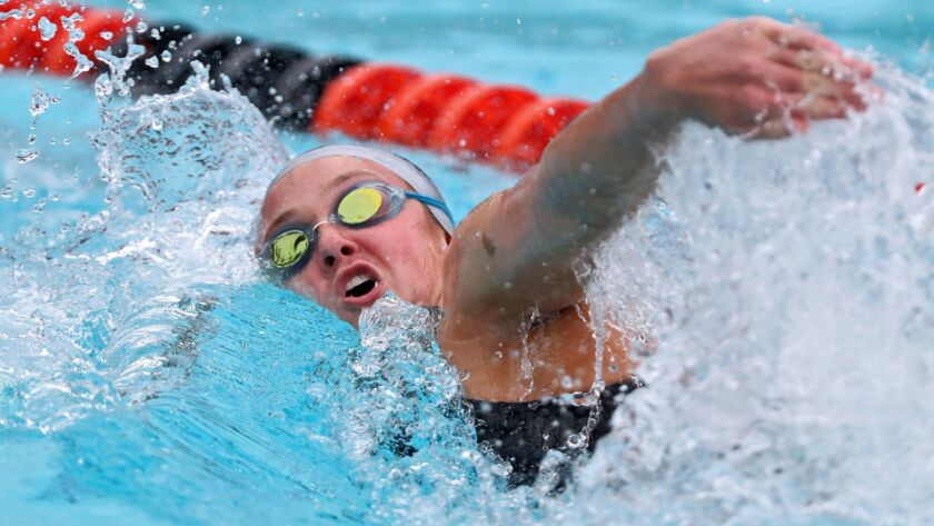 Newport Harbor High swimmer Ayla Spitz does the varsity girls 200 yard freestyle event at the 2018 CIF SS Division 1 Swimming and Diving Championships at Riverside City College Aquatics Center in Riverside on Saturday, May 12, 2018.