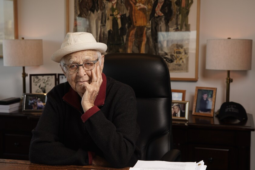 Norman Lear sits in his office on the Sony Pictures Studios lot in Culver City
