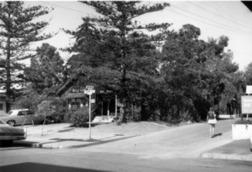 This corner at Ivanhoe Avenue and Roslyn Lane (today home to the five-story Machnester Financial Building) was once the site of a quaint cottage housing Betty Crane Real Estate. La Jolla Historical Society