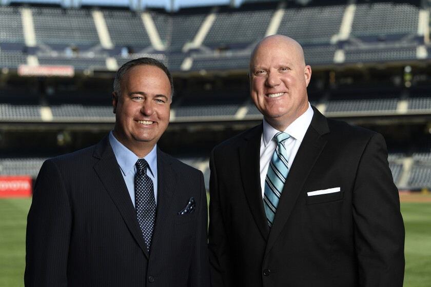 Don Orsillo (left) and Mark Grant call Padres games on Fox Sports San Diego.