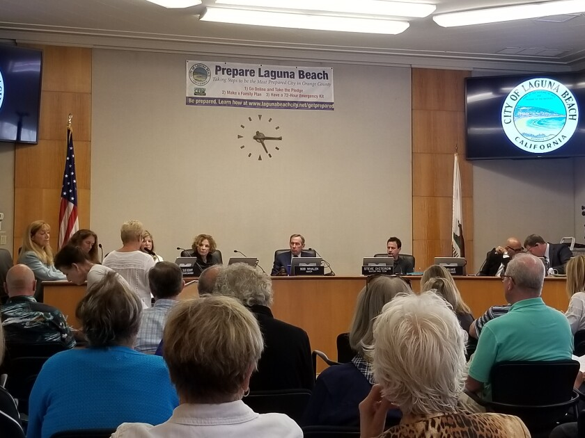 Laguna Beach city council listens to public comment during their Sept. 17 meeting.