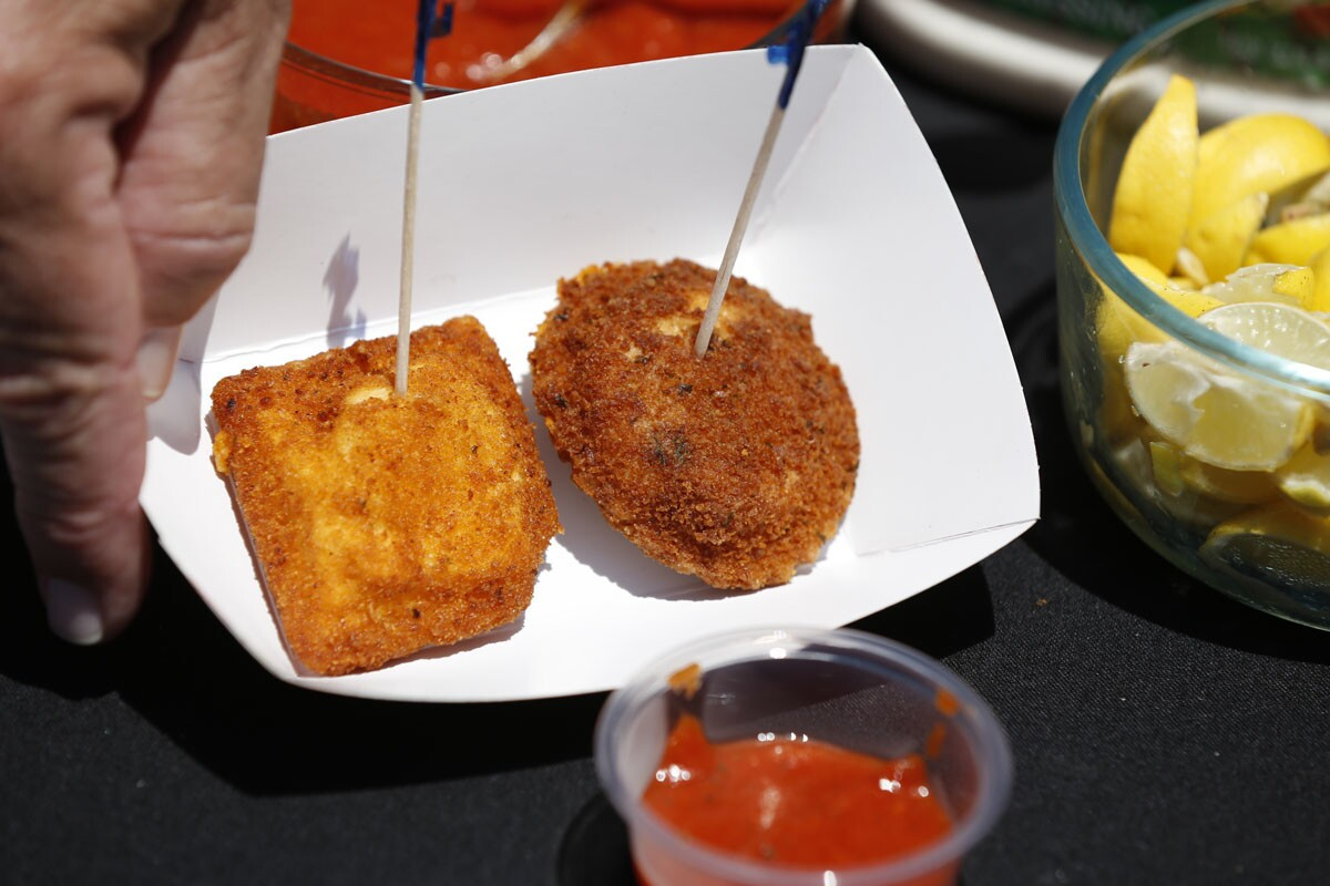 The San Diego County Fair: Where the West is Fun 2017. Reno's Fish & Chips deep-fried Buffalo chicken ravioli and Pignotti's Pasta with flavorful mildly spicy Buffalo hot-sauce breading. (Alejandro Tamayo Union-Tribune)