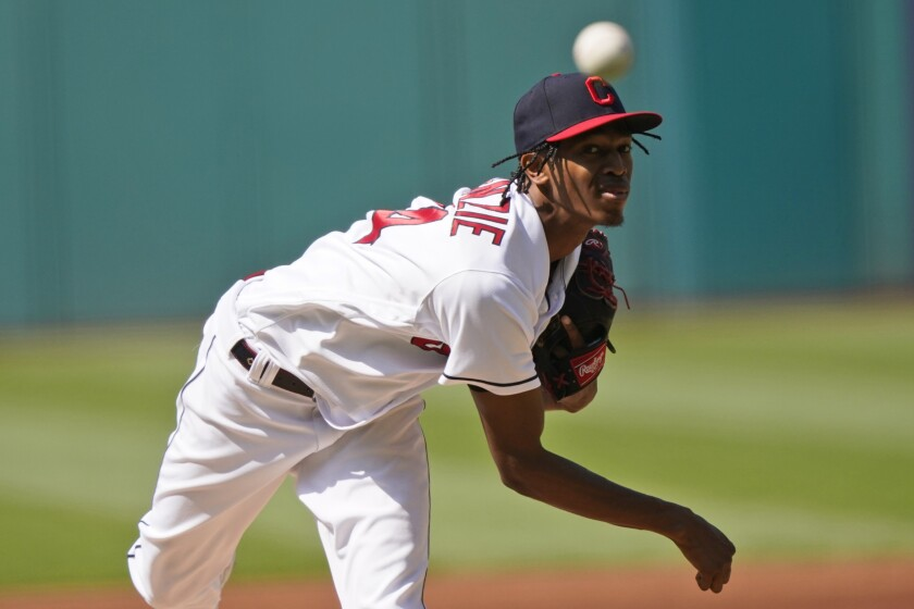 Cleveland Indians starting pitcher Triston McKenzie delivers in the first inning of a baseball game against the Seattle Mariners, Saturday, June 12, 2021, in Cleveland. (AP Photo/Tony Dejak)