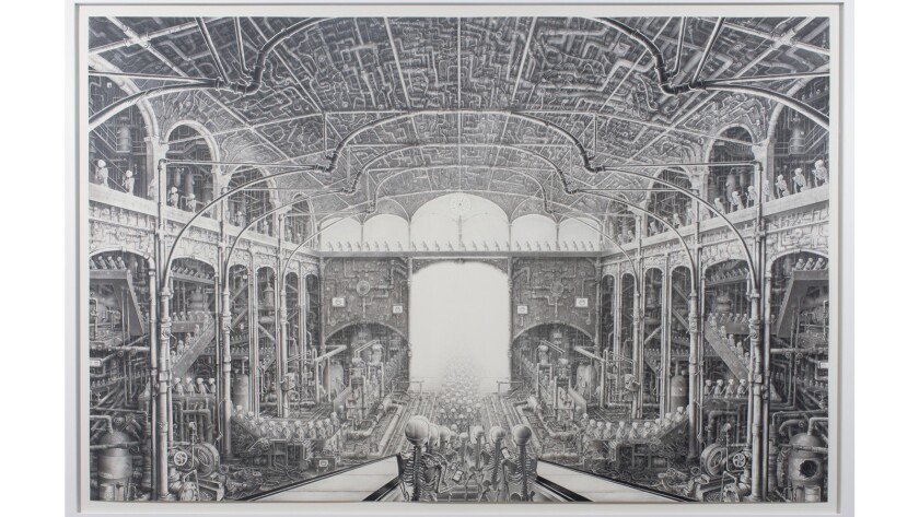 """""""Happy,"""" a charcoal and pencil drawing by Laurie Lipton, is at Ace Gallery in Los Angeles."""