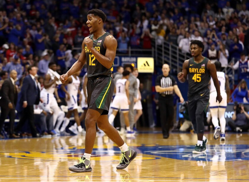 Baylor guard Jared Butler celebrates during the Bears' 67-55 victory over Kansas on Jan. 11, 2020.