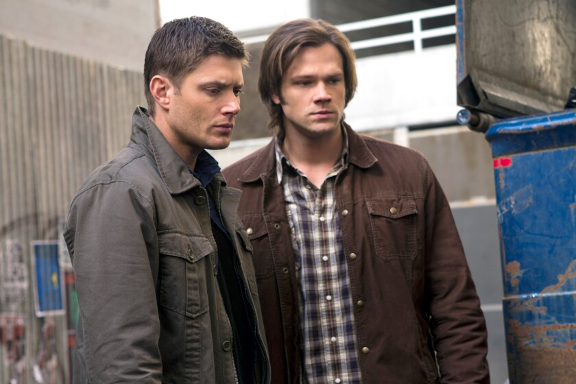 """Jensen Ackles as Dean, Jared Padalecki as Sam in a scene from """"Supernatural,"""" which will enter its 10th season this fall."""