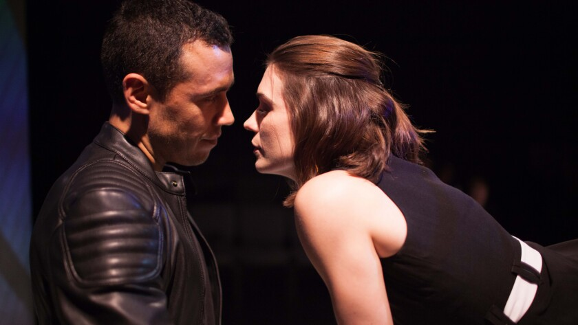 "Erotic chemistry colors the modern-day Faustian bargain between a cynical demon (Jonathan Medina) and his idealistic target (Kimberly Alexander) in ""Liana and Ben."""