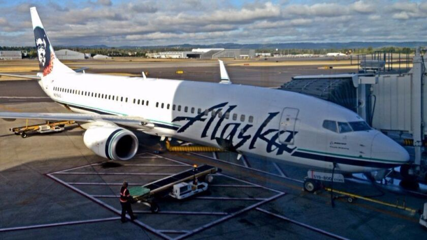 PORTLAND, OR: Alaska Airlines aircraft is ready to fly from Portland.