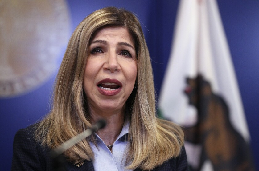 San Diego County District Attorney Summer Stephan spoke at a press conference in San Diego in 2019