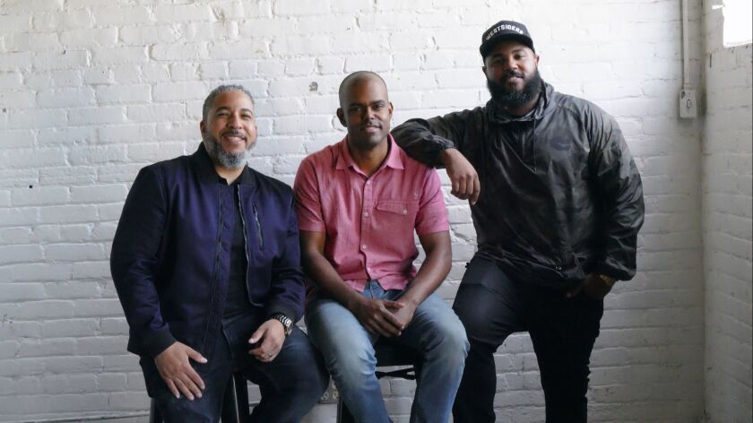 Brandon Steppe (center) gave up his corporate job to pursue his dream of creating and producing musi