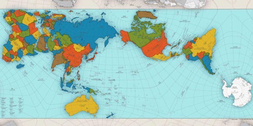 La creación del arquitecto Hajime Narukawa ganó el Gran Premio del Diseño en Japón. El mapa refleja fielmente las proporciones entre países y regiones.