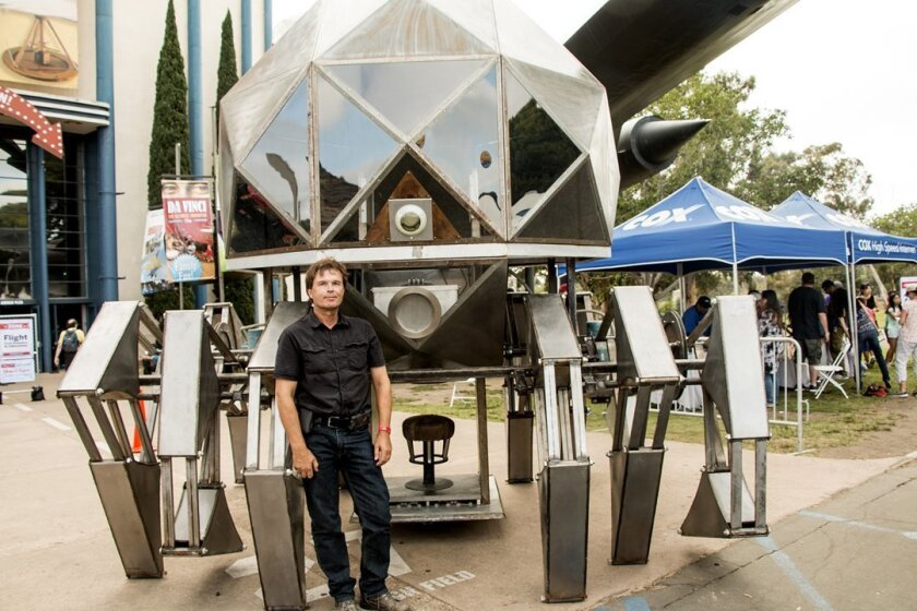 Scott Parenteau poses with his Tin Spider during Maker Faire San Diego, held Oct. 3-4, 2015 in Balboa Park.