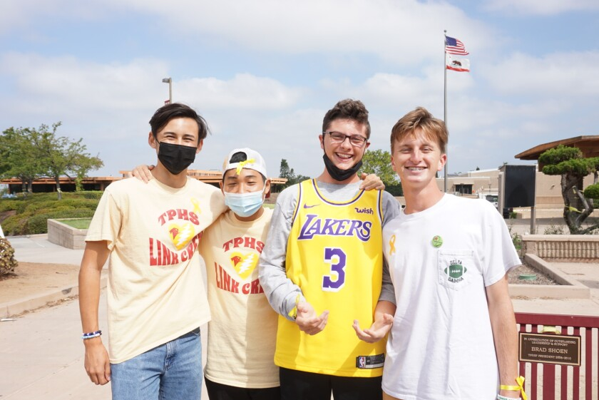 Falcons Toby Thorpe, Min-Young Bang, Jack Tiernan and Evan Patrick on Wear Yellow Day.