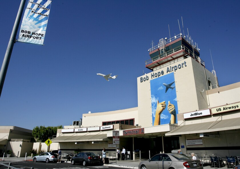 Plane takes off from Bob Hope Airport in Burbank