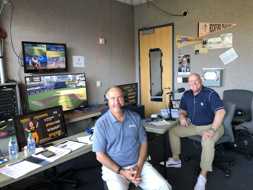 The Padres TV team of Don Orsillo (left) and Mark Grant will adjust to games with no fans and other challenges.