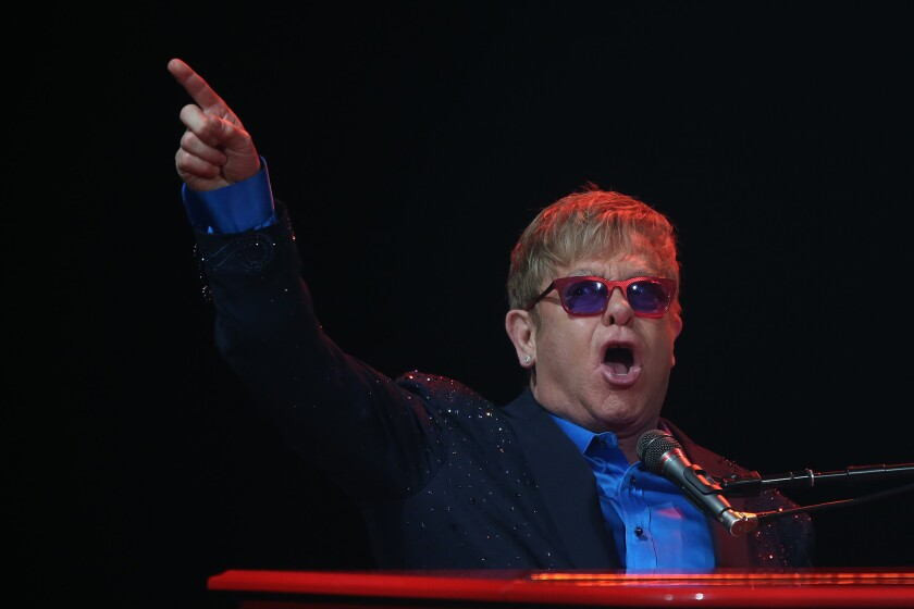 Elton John on the piano at an Los Angeles show in 2016.