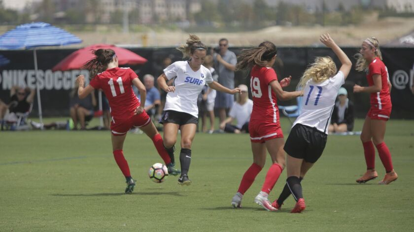 The San Diego Surf the Portland Thorns academy girls U19 match in the Surf Cup soccer Tournament at