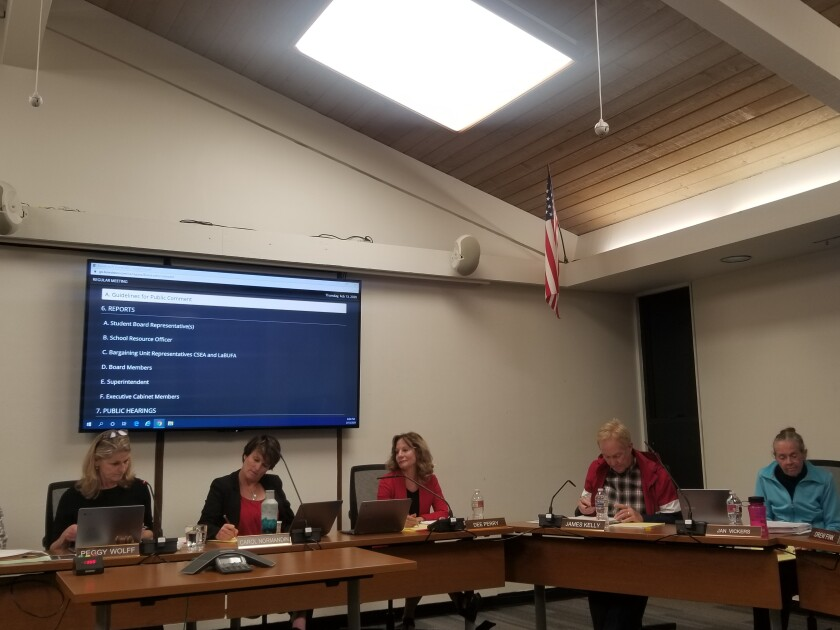 The Laguna Beach Unified School District board of trustees received an update on the ten-year master facilities plan at their meeting on Thursday.