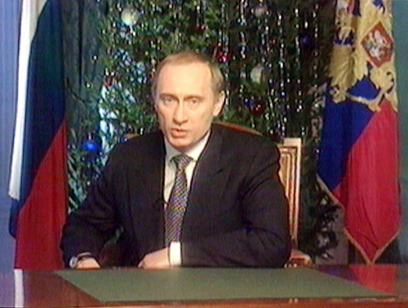Putin makes the New Year's address on Dec. 31, 1999.