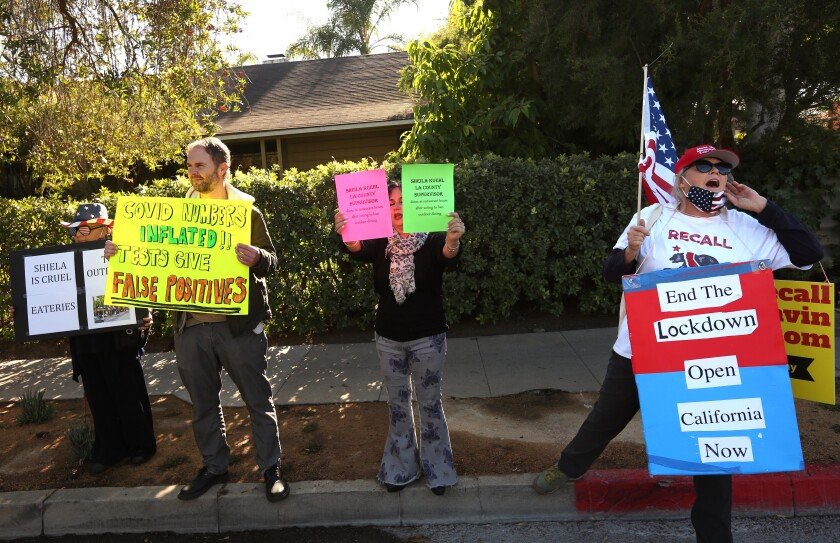 A handful of people protest across the street from the home of Los Angeles County Supervisor Sheila Kuehl in Santa Monica.