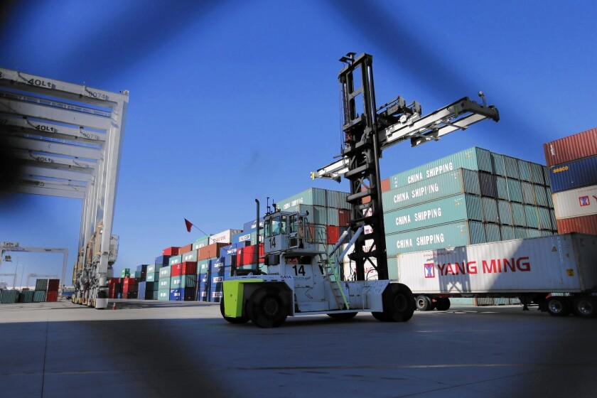 A view of operations at the China shipping terminal at the Port of Los Angeles.