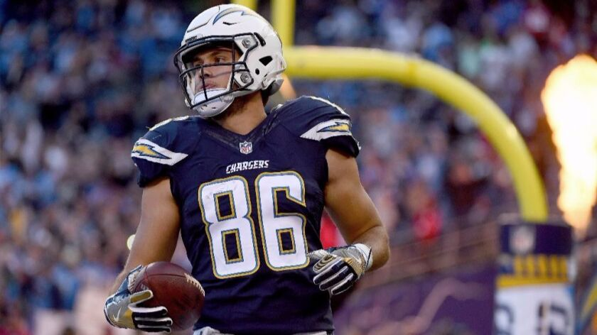 Chargers rookie tight end Hunter Henry scores during a game against the Chiefs on Jan. 1.
