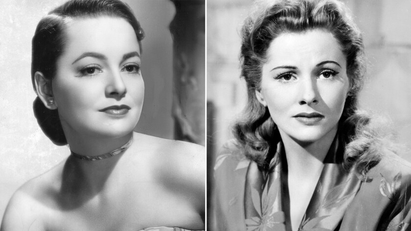 A portrait of actress Olivia de Havilland, left, in 1945. Actress Joan Fontaine, right, in 1941's