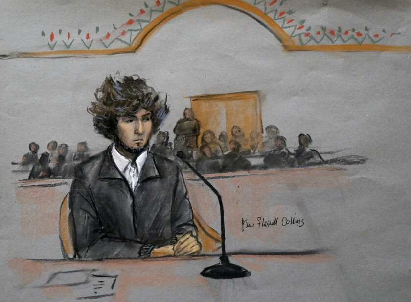 In this courtroom sketch, Boston Marathon bombing suspect Dzhokhar Tsarnaev is depicted sitting in federal court in Boston in December 2014.