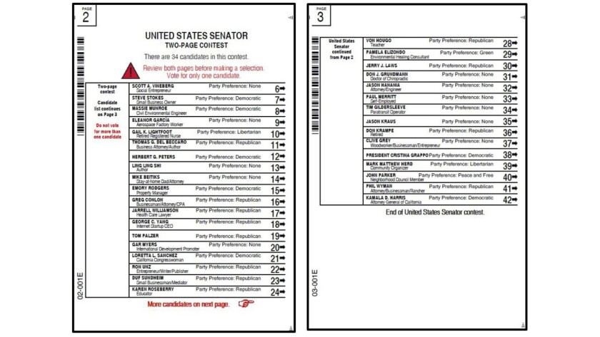 Sample ballots for Senate race