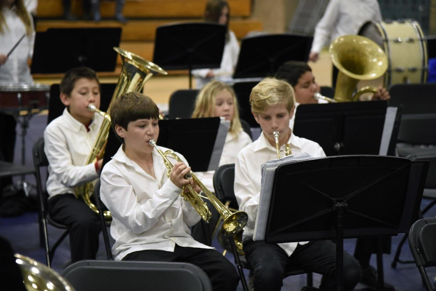Ada Harris Elementary and EUSD Elementary band musicians