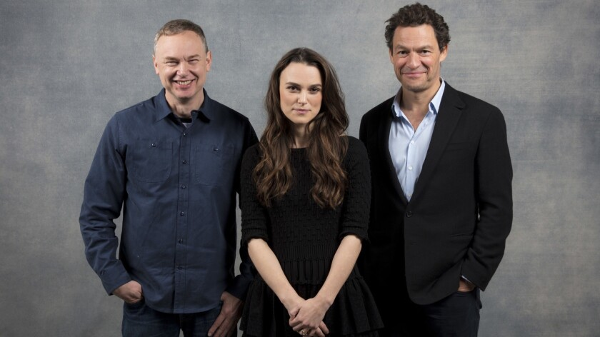 PARK CITY,UTAH --SUNDAY, JANUARY 21, 2018-- Director Wash Westmoreland, actress Keira Knightley, and