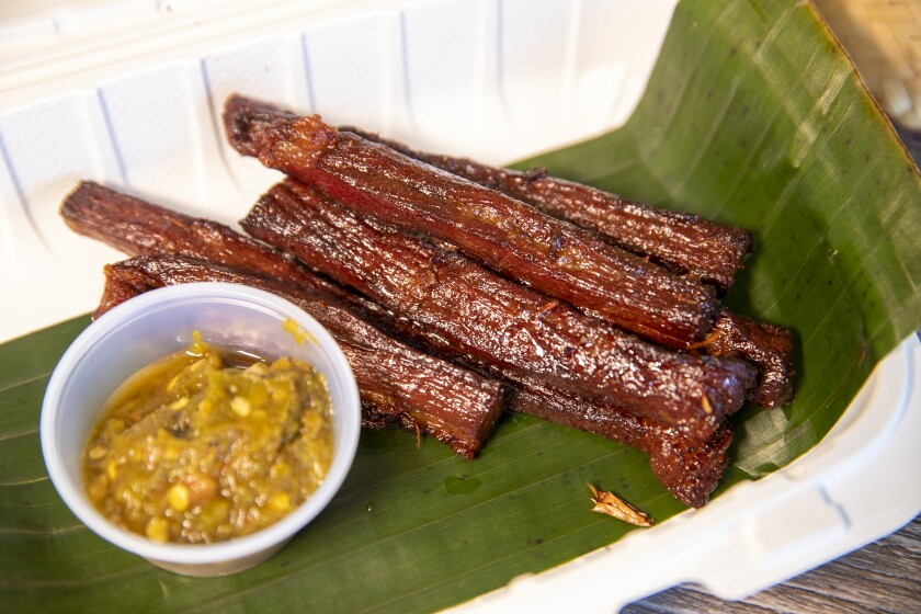 Deep-fried strips of beef jerky from Banana Leaf Kitchen in Huntington Beach.