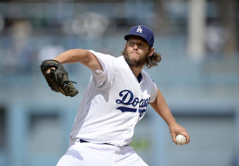 The Dodgers' Clayton Kershaw pitches against San Diego at Dodger Stadium on Oct. 4.