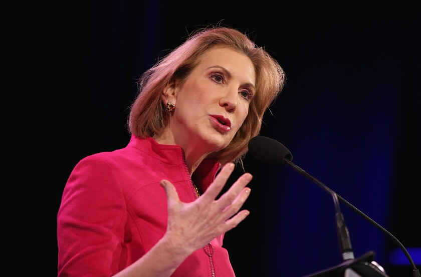 Former Hewlett-Packard chief and failed Republican U.S. Senate candidate Carly Fiorina delivered a scathing attack against Hillary Clinton at U.S. Rep. Steve King's Iowa Freedom Summit.