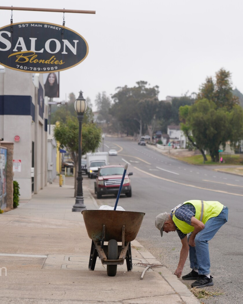 Tom Reese joined more than a dozen volunteers in picking up trash on Main Street.