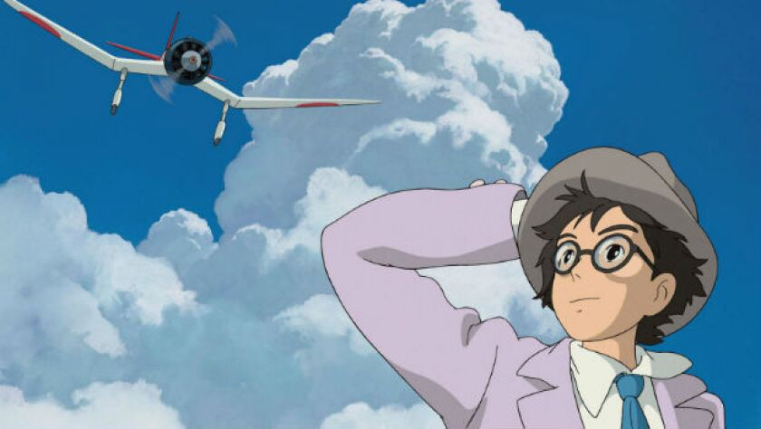 "Jiro looks up at a plane in ""The Wind Rises"""