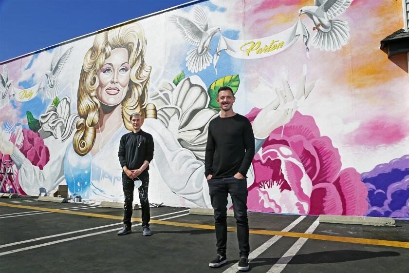 Luke Nero and Long Beach-based artist David Gilmore at Strut Bar & Club in Costa Mesa.