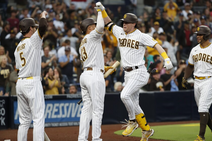 Jake Cronenworth hit a two-run, first-inning home run off Dodgers ace Clayton Kershaw on Tuesday at Petco Park.