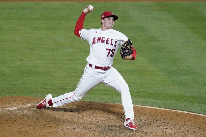 Angels relief pitcher Chris Rodriguez delivers against the Kansas City Royals on June 7.