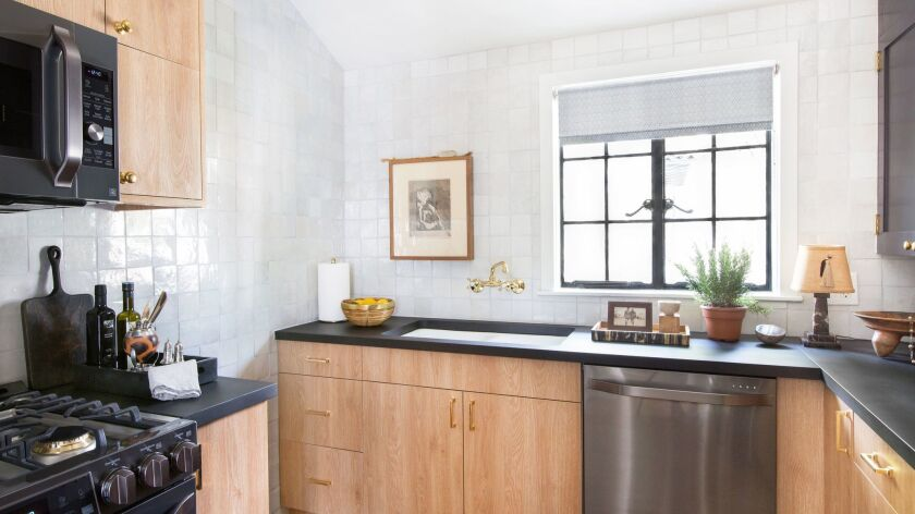 A recently renovated 80 square foot kitchen, in the Carriage House of Nate Berkus' LA home. Credit: