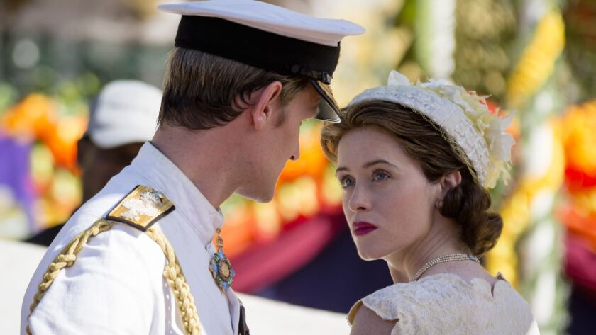 """Matt Smith, left, and Claire Foy in the Netflix series """"The Crown."""""""
