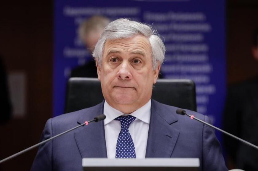 El presidente del Parlamento Europeo (PE), Antonio Tajani, durante una sesión del pleno del Parlamento Europeo sobre la crisis en Venezuela este jueves en Bruselas, Bélgica. EFE/Archivo