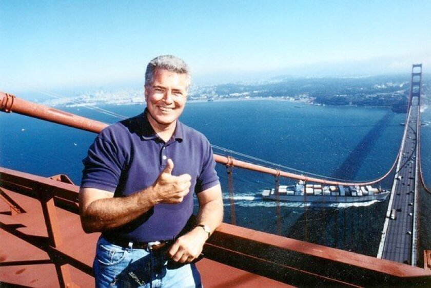 Huell Howser, shown on top of the Golden Gate Bridge in an undated photo.